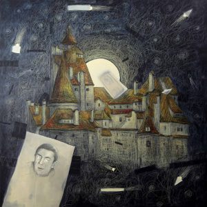 Marek Jaśkowidz, DRACULA'S CASTLE mixed media and own technique on canvas 100x100cm 2018