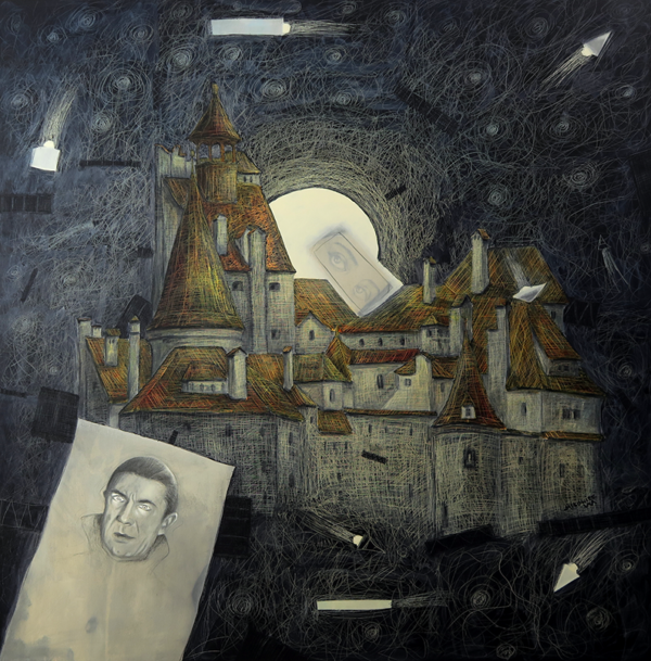 2. DRACULA'S CASTLE mixed media and own technique on canvas 100x100cm 2018