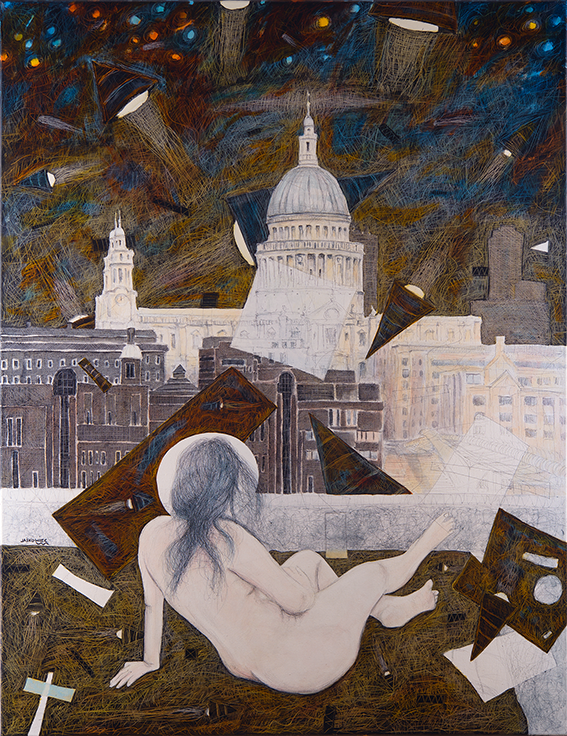 LONDON acrylic oil gesso watercolor ink and own technique on canvas 100 x 130cm 2018