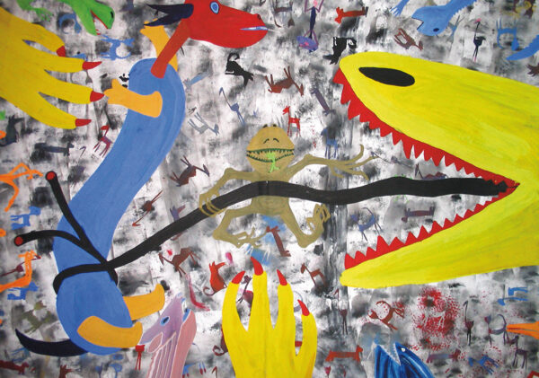 MONSTERS_acrylic on cardboard, 70×100 cm, Cracow 2000