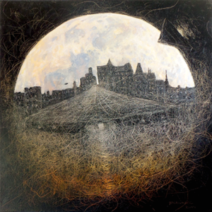 MYSTERY OF THE MOON oil and own technique on canvas 2015