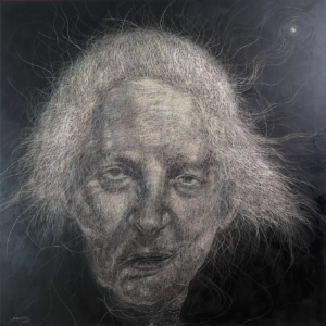 the last breath in this land oil and own technique on canvas 100x100cm 2018